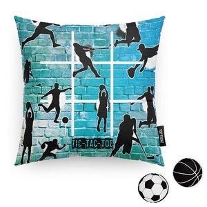 Tic Tac Toe Teal Sports Game Pillow