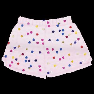 Colorful Shiny Hearts Fuzzy Shorts