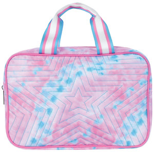 Quilted Silver Star Tie Dye Large Cosmetic Bag