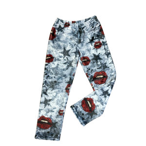 Grunge Star Roses Fuzzy Pants