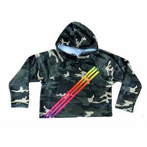 Camo Rainbow Stripe Cropped Hoodie