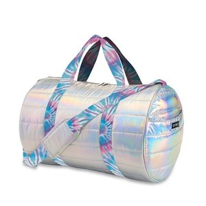 Metallic Puffer Duffel Bag with Ice Tie Dye Straps