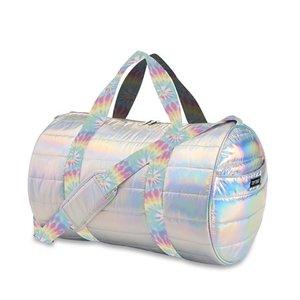 Metallic Puffer Duffel Bag with Pastel Tie Dye Straps