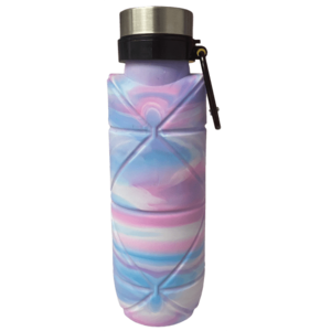 Silver Star Tie Dye Collapsible Water Bottle