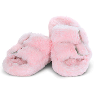Pink Furry Strap Slippers