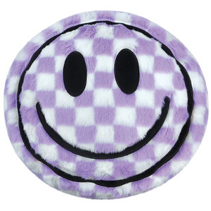 Purple Checker Smiles Pillow