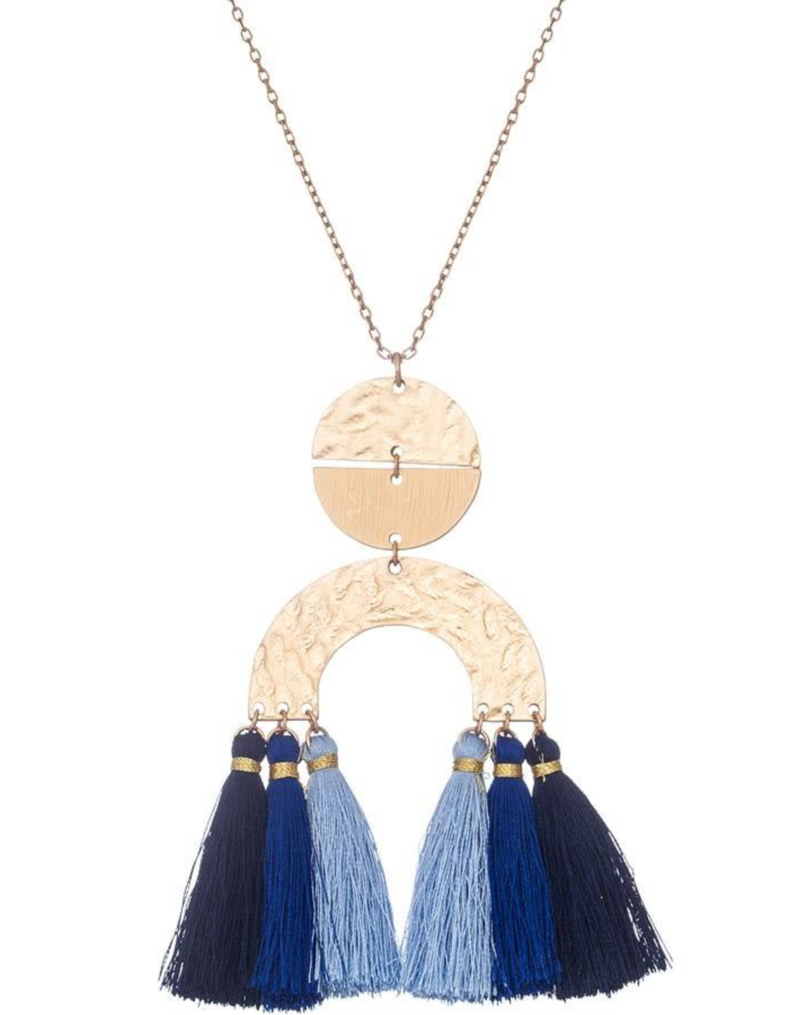 HAMMERED PENDANT NECKLACE W/ FABRIC TASSELS