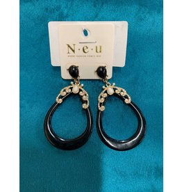 BLK ENAMEL BLING TEARDROP EARRING