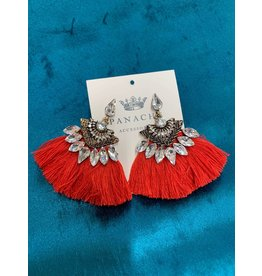 BLING STMNT EARRING RED FRINGE