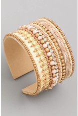 BEADED NATURAL CUFF BRACELET