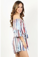 PLUS RED WHITE BLUE WATERCOLOR STRIPED OFF SHOULDER ROMPER