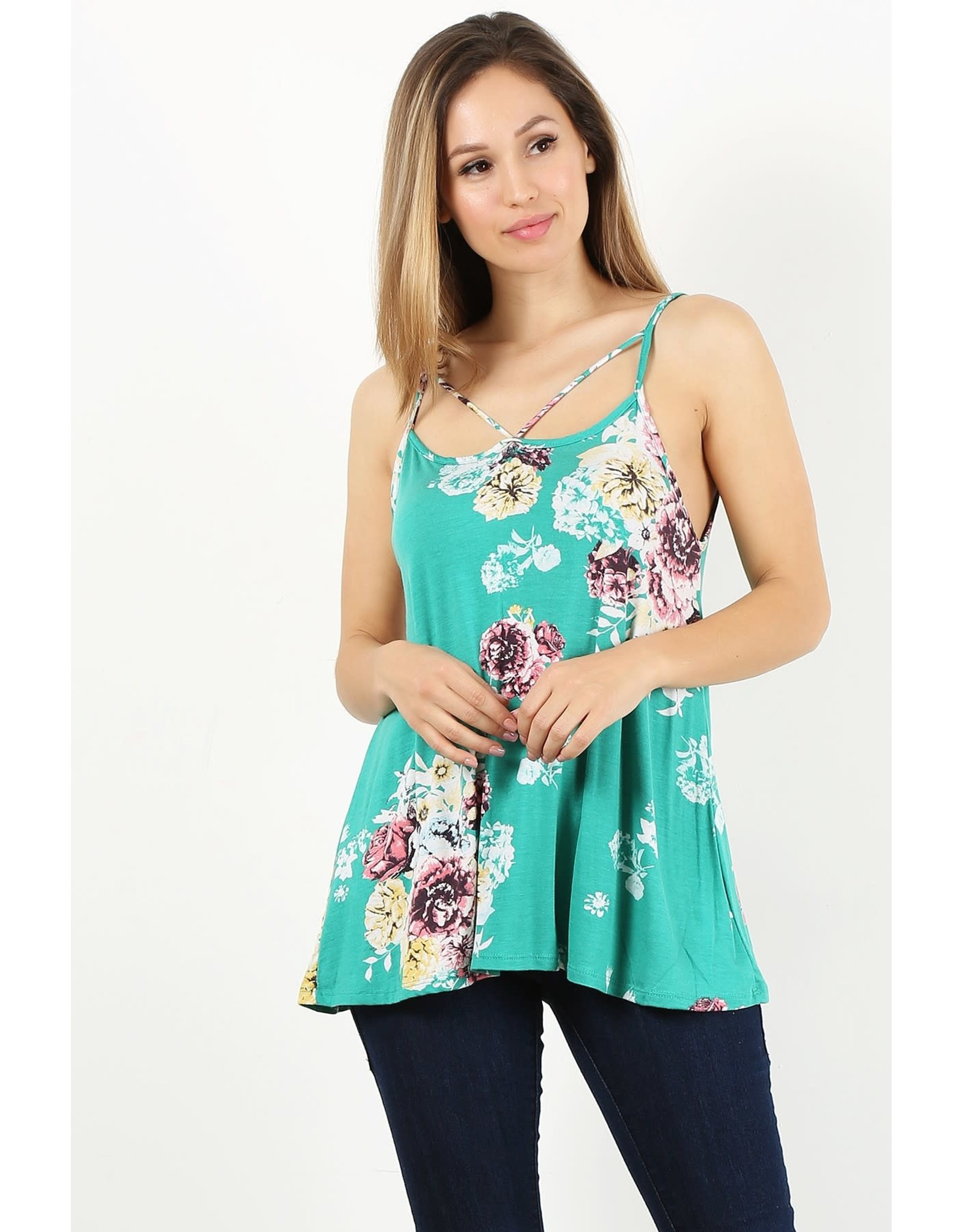 MINT FLORAL PRINT SLEEVELESS TOP WITH LOW BACK
