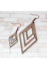WOODEN LASER CUT EARRING - ECHO PARK MINI WALNUT
