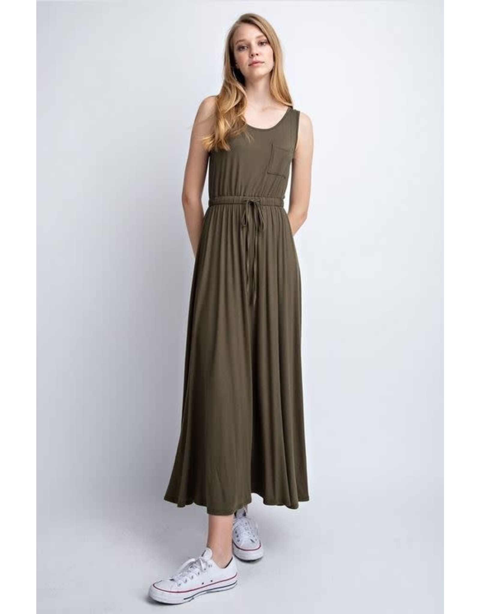 OLIVE SLEEVELESS MAXI DRESS WITH ELASTIC TIE WAIST