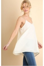 CREAM V-NECK CHIFFON SPAGHETTI STRAP TOP