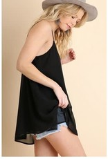 BLACK V-NECK CHIFFON SPAGHETTI STRAP TOP
