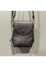 STUDDED MINI CROSSBODY SADDLE BAG MULTIPLE COLORS
