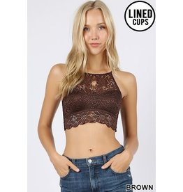 BROWN KEYHOLE HIGH NECK LACE BRALETTE WITH LINING