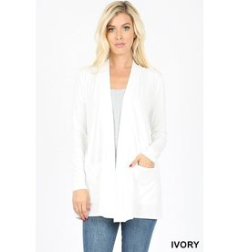 IVORY SLOUCHY POCKET OPEN CARDIGAN