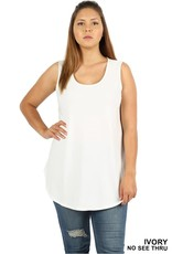 IVORY BASIC SOLID COLOR SLEEVELESS TANK