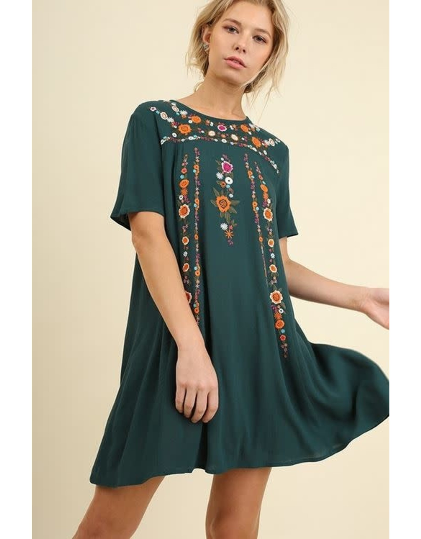 FOREST GREEN FLORAL EMBROIDERED TEE DRESS