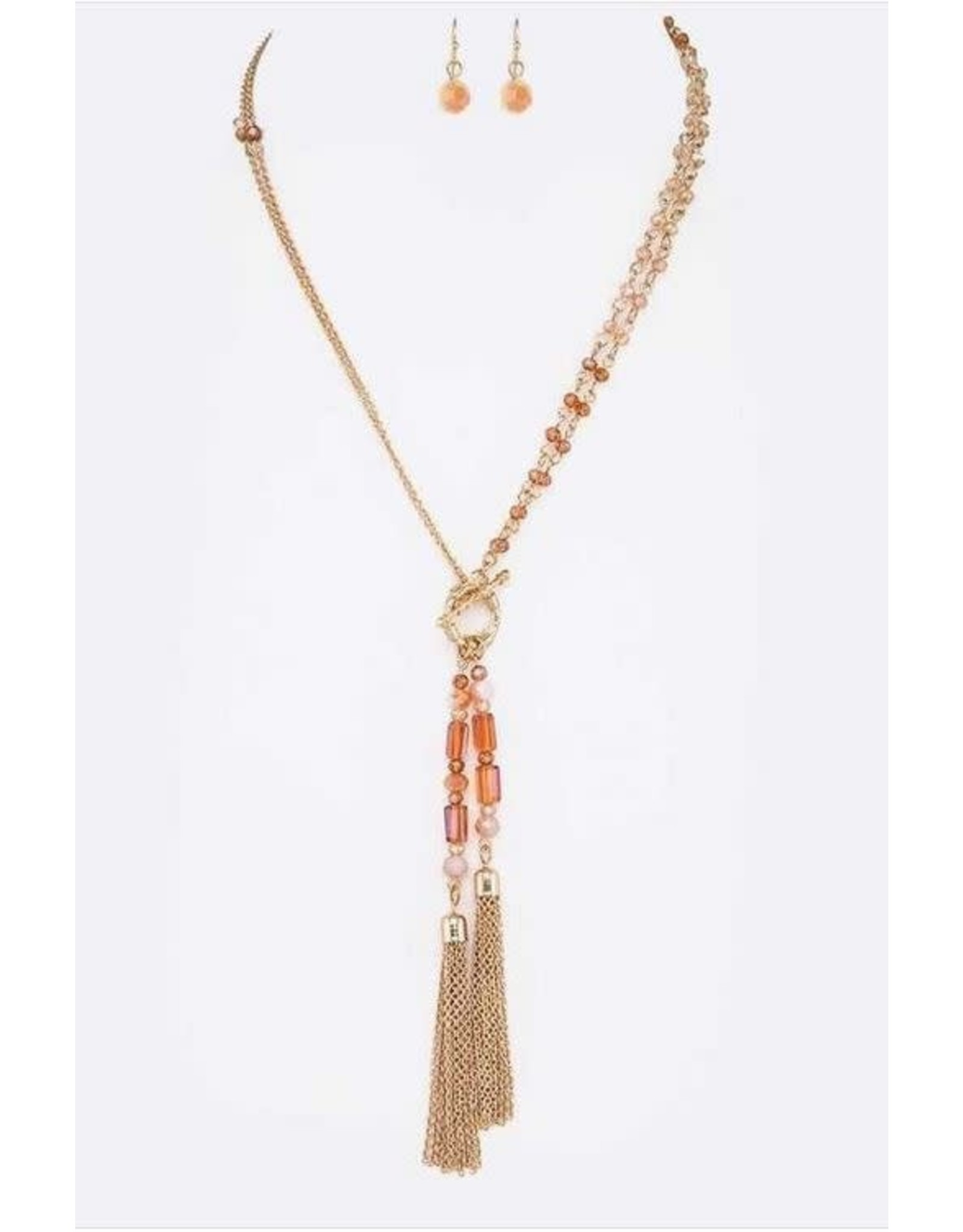 BROWN MIX CRYSTAL TOGGLE CHAIN NECKLACE
