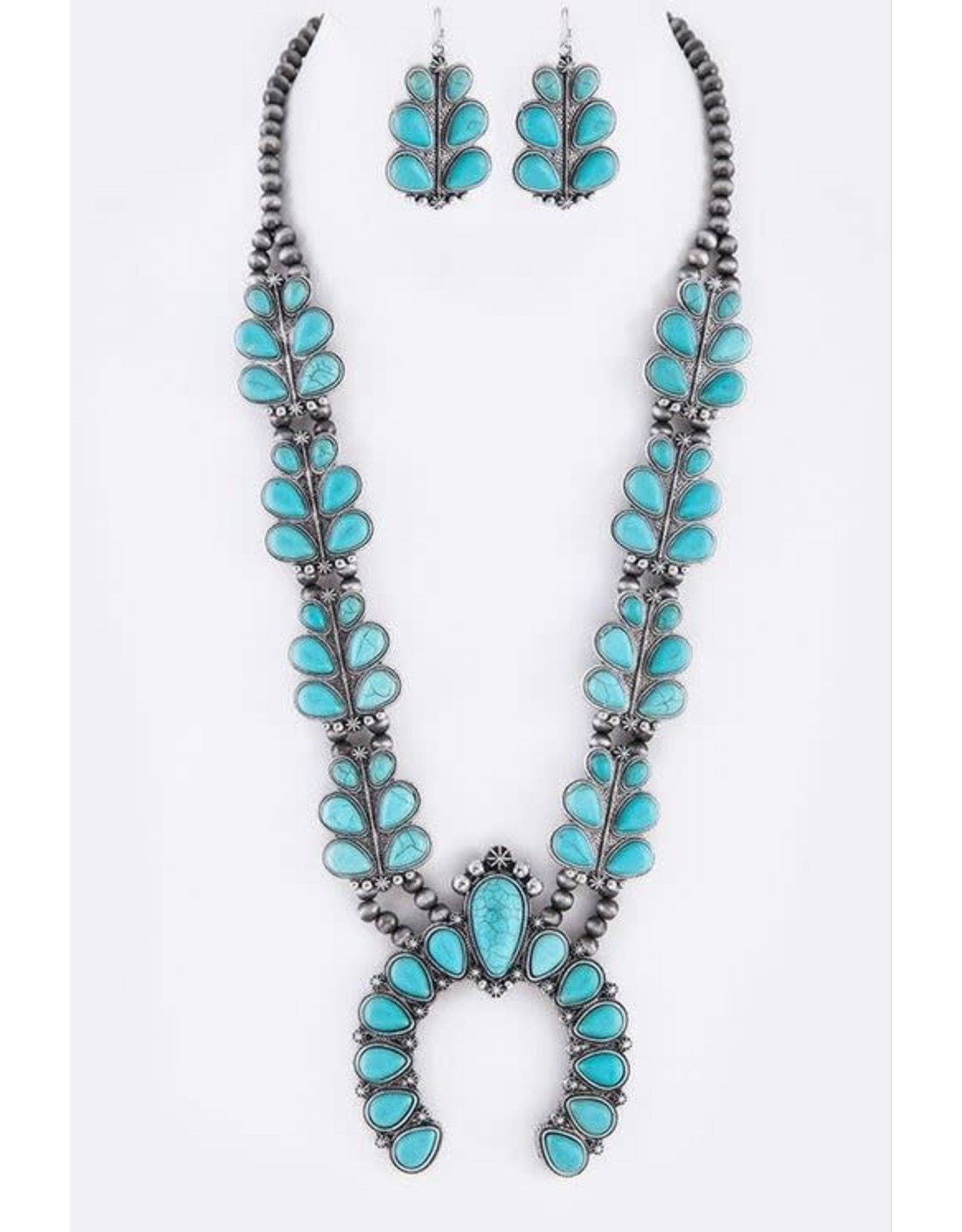TURQUOISE / SILVER SQUASH BLOSSOM NECKLACE SET