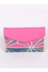 TRIANGLE PATTERN CLUTCH BACK WITH CROSSBODY CHAIN