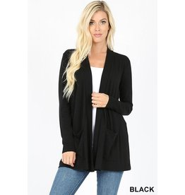 BLACK SLOUCHY POCKET OPEN CARDIGAN