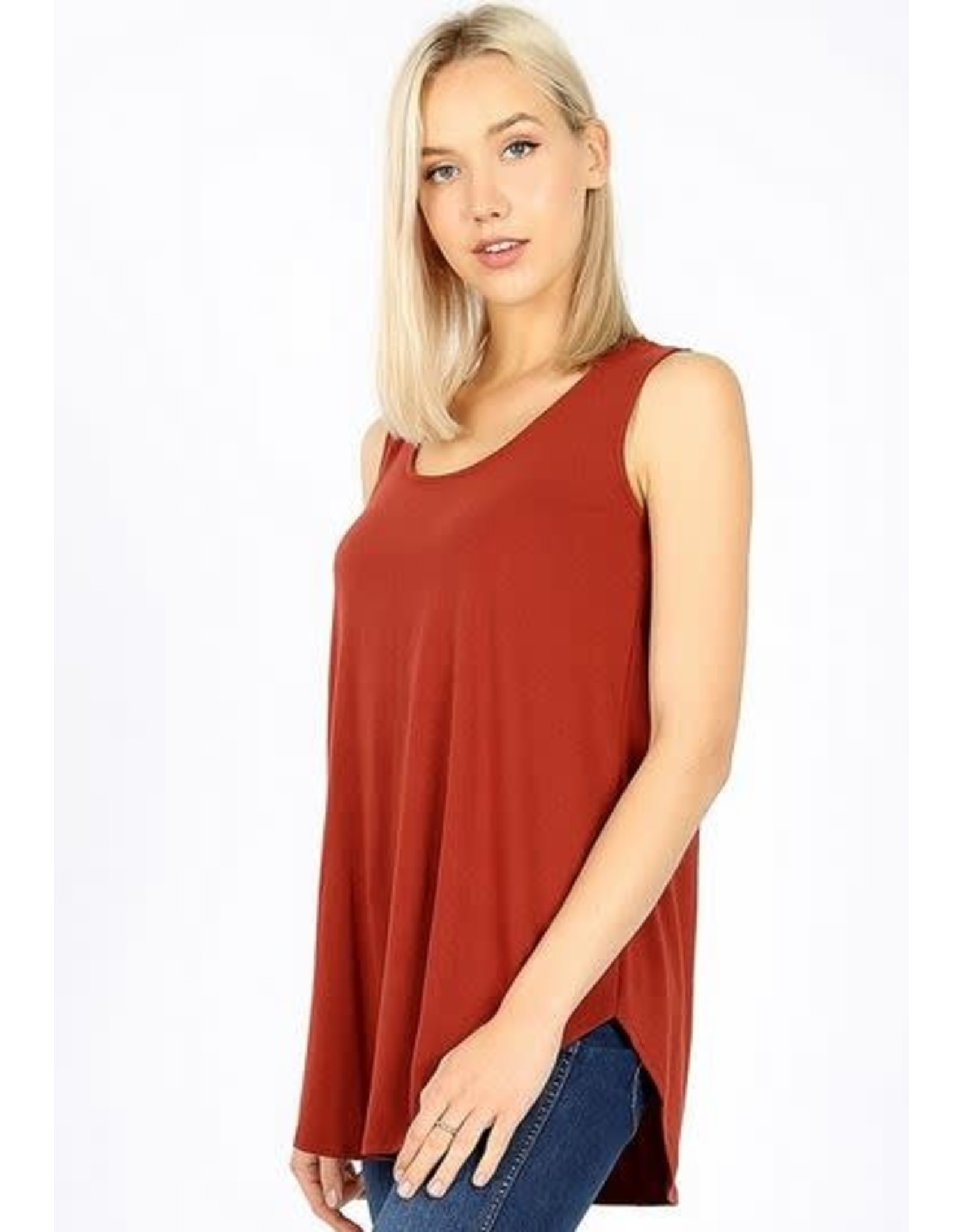FIRED BRICK BASIC SOLID COLOR SLEEVELESS TANK