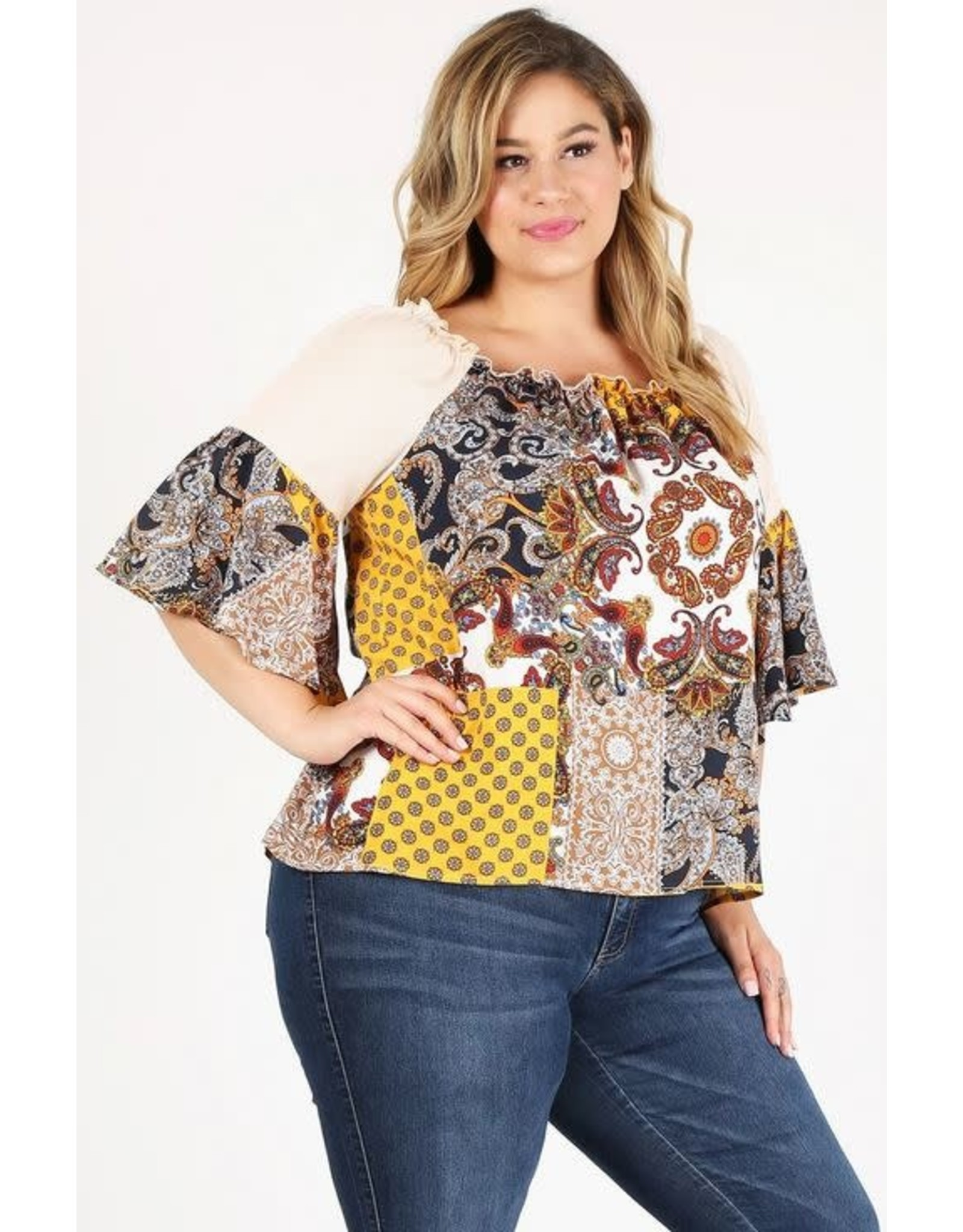 OATMEAL PAISLEY PRINT TOP WITH BELL SLEEVE SQUARE NECKLINE