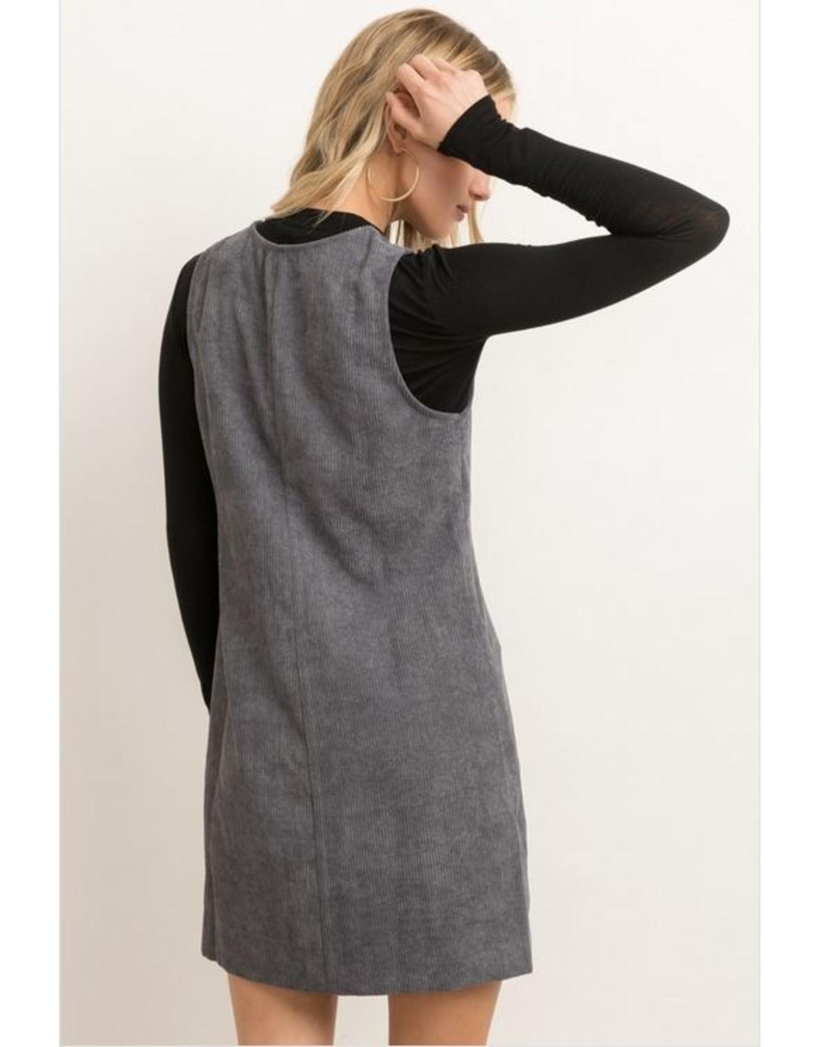 CHARCOAL ZIP FRONT CORDUROY SLEEVELESS DRESS