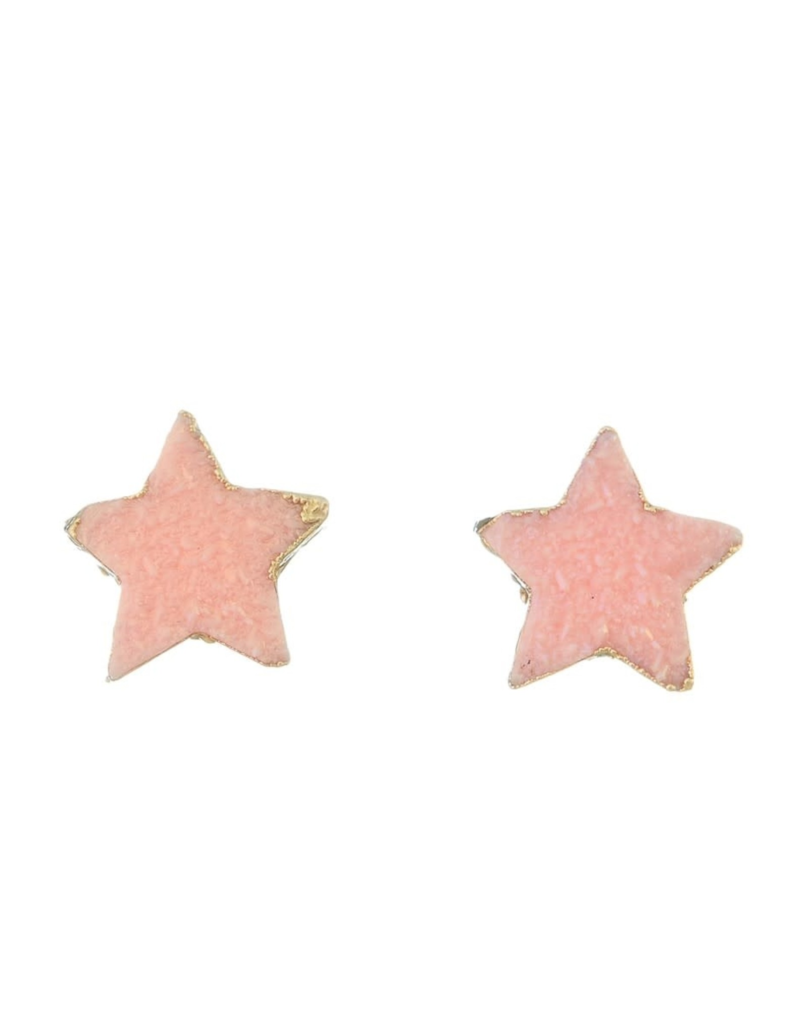 CORAL DAINTY STAR POST EARRING