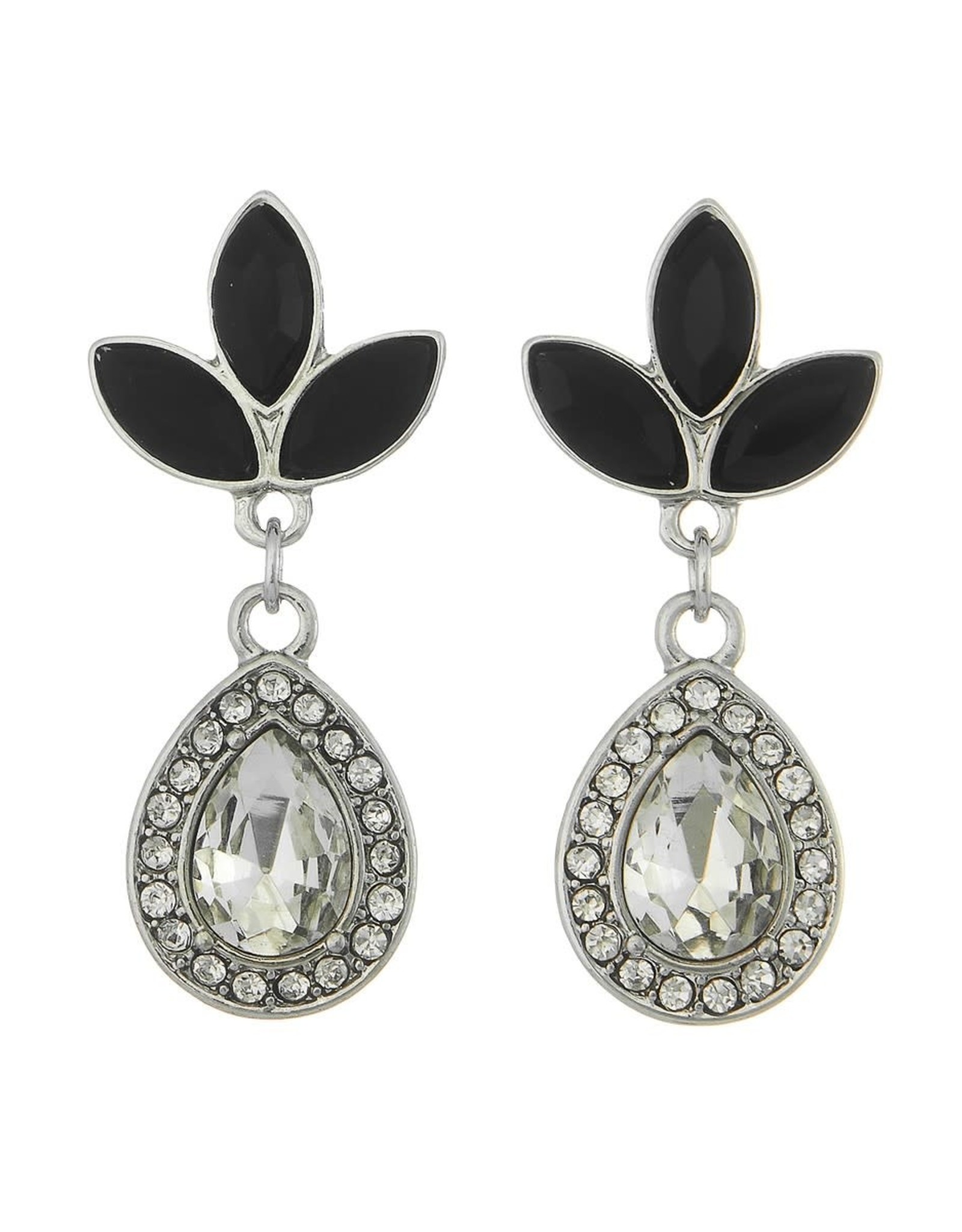 """SILVER FACETED STONE DROP EARRINGS 1.5"""""""