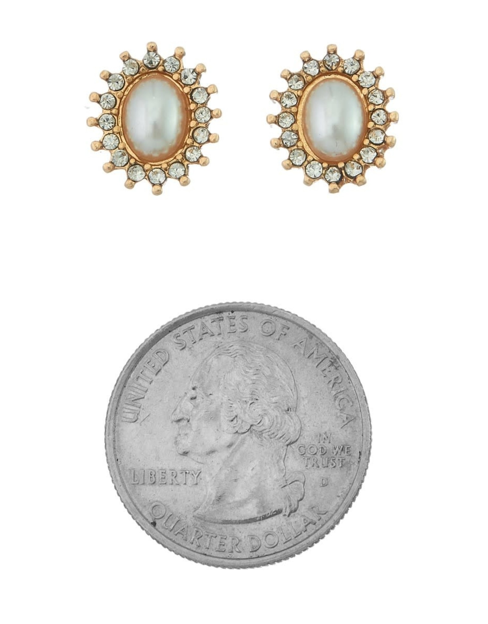GOLD OVAL PEARL CENTER PAVE FRAME EARRINGS