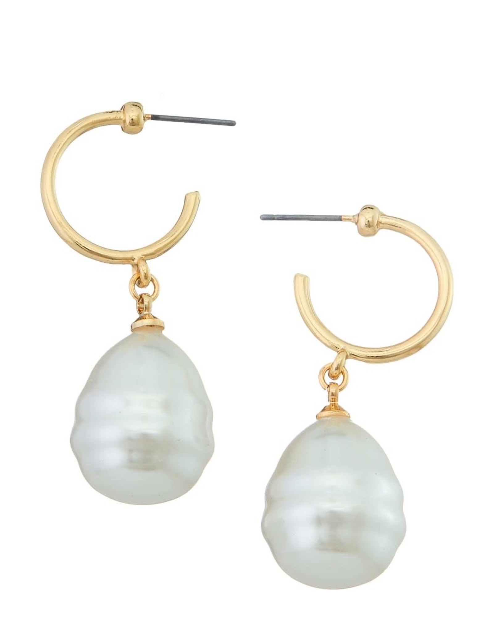 GOLD OPEN HOOP EARRINGS WITH FRESHWATER PEARL