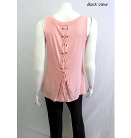 LACE UP BACK SLEEVELESS TOP MULTIPLE COLORS