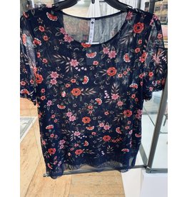 NAVY MESH SHORT SLEEVE TOP WITH RED FLORAL PRINT