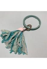 LEATHER CIRCLE KEYRINGS WITH TASSLE