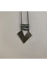 BRONZE METAL CHEVRON PLATE WITH BEAD NECKLACE