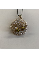 HONEYCOMB PENDANT NECKLACE WITH PEARL AND BEE ACCENTS