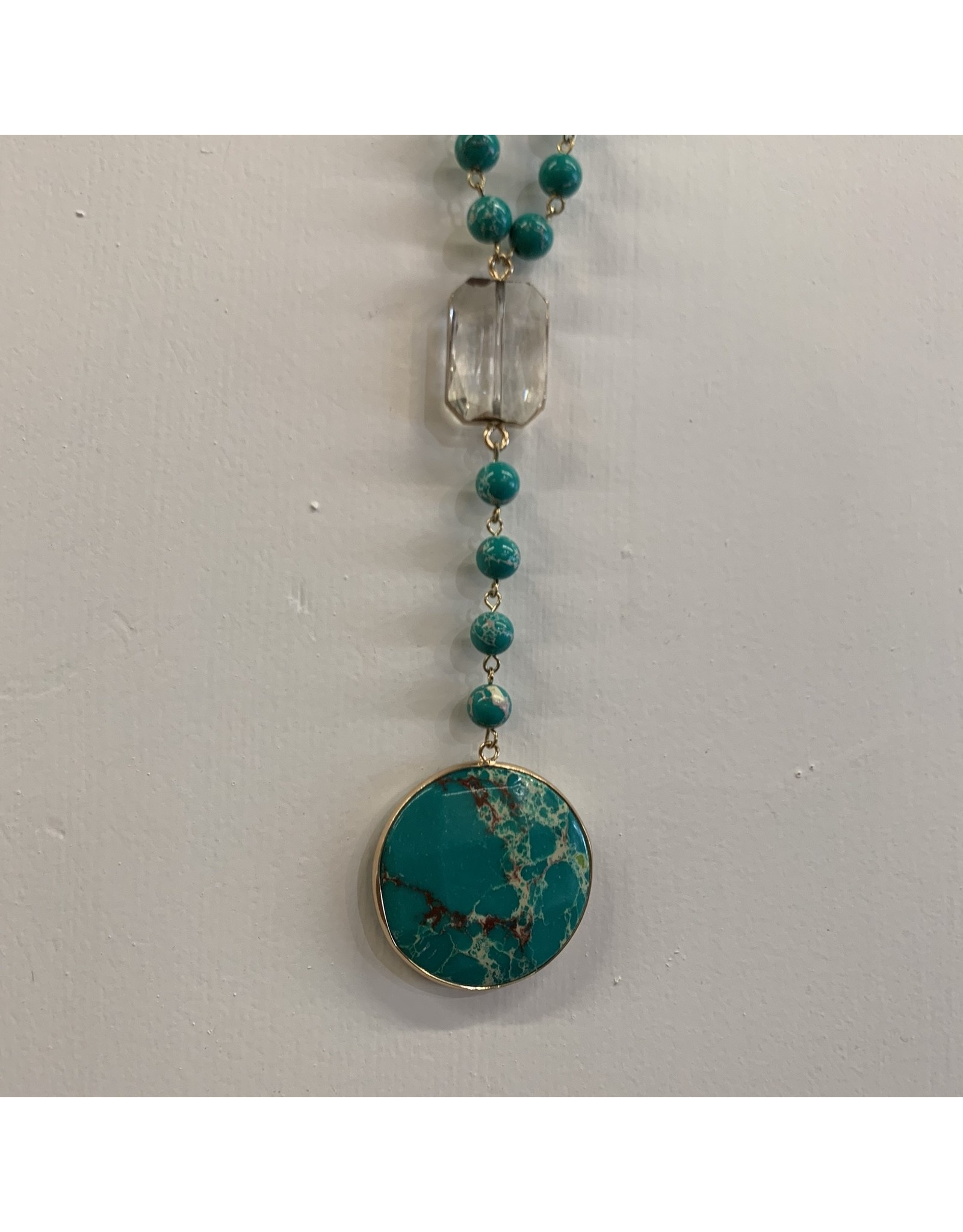 MARBLE BEADED NECKLACE WITH CLEAR CRYSTAL AND DROP CIRCLE STONE