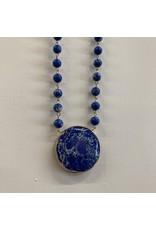 BLUE SHORT BEADED CIRCLE MARBLE STONE PENDANT NECKLACE
