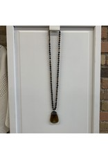 LONG BEADED NECKLACE WITH CRYSTAL TOPPED STONE PENDANT