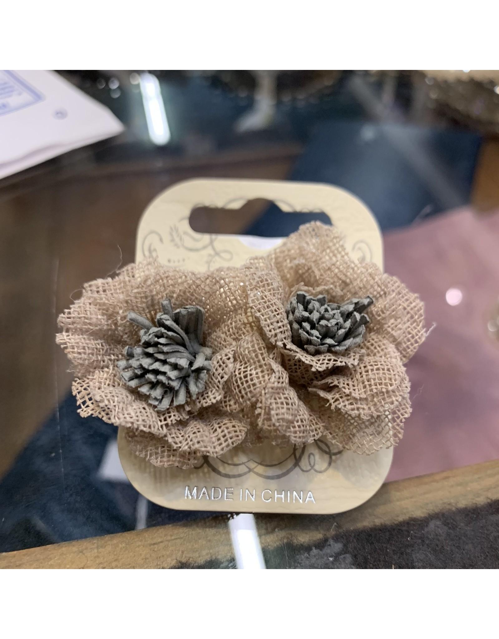 BURLAP FLOWER POST EARRINGS