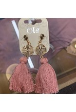 GOLD SPIRAL DROP EARRING WITH PINK TASSLE