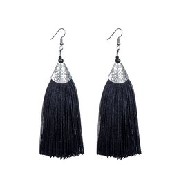 BLACK TASSLE DROP EARRING WITH SILVER DETAIL