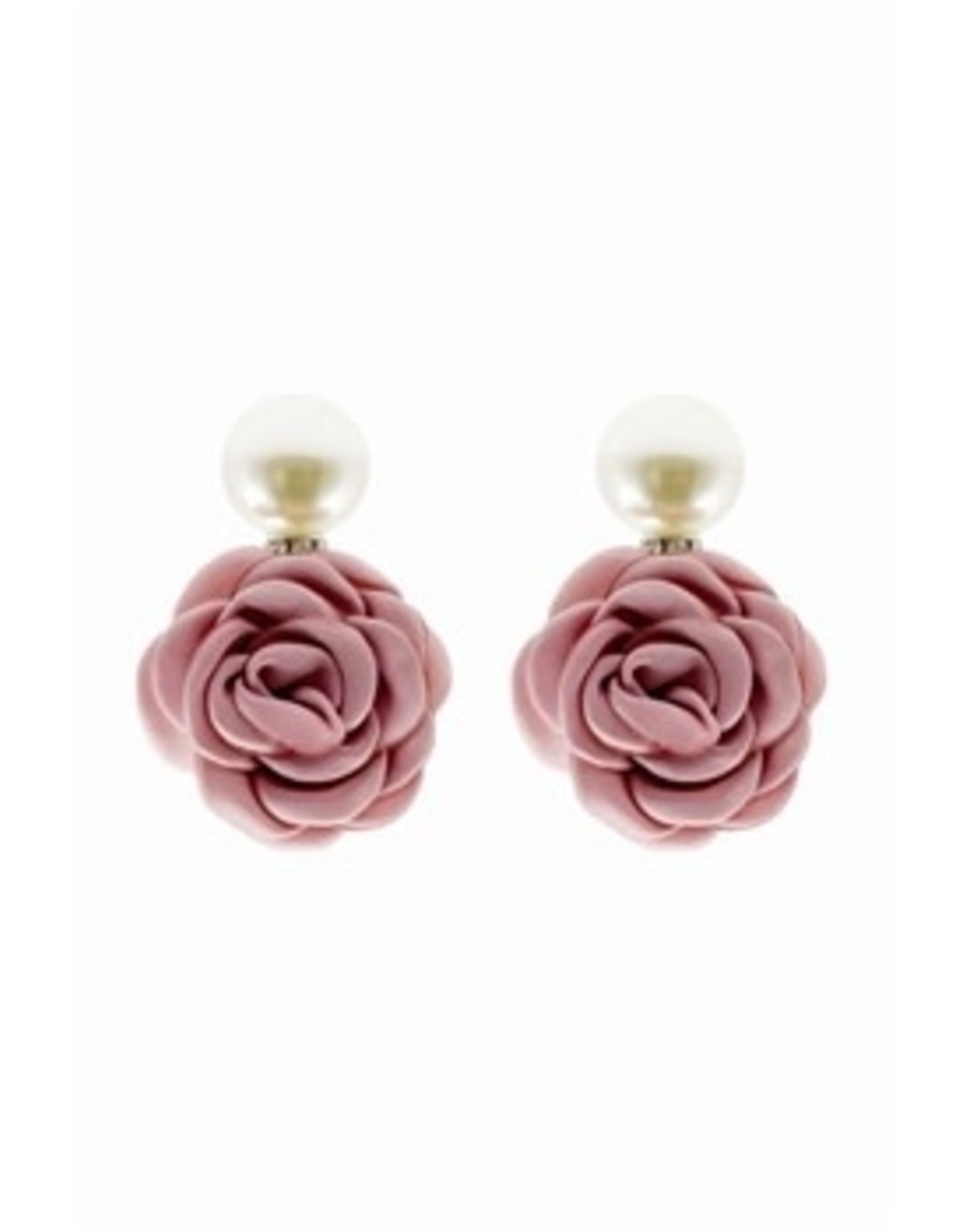 PEARL DROP EARRING WITH PINK FABRIC FLOWER