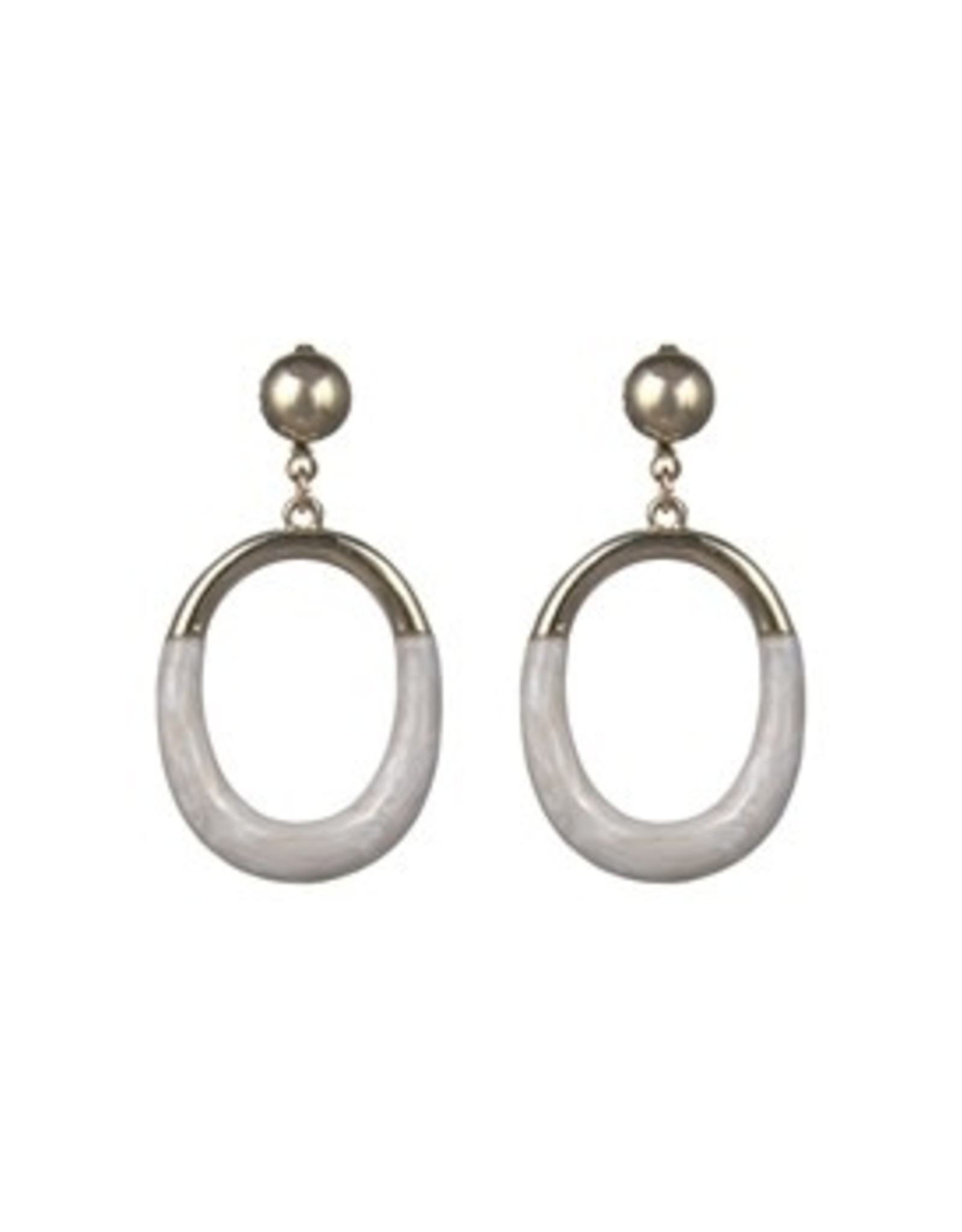 GOLD POST WITH IVORY ENAMEL DIP OVAL EARRING