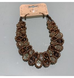 BRONZE METAL WRAPPED BEAD BIB NECKLACE